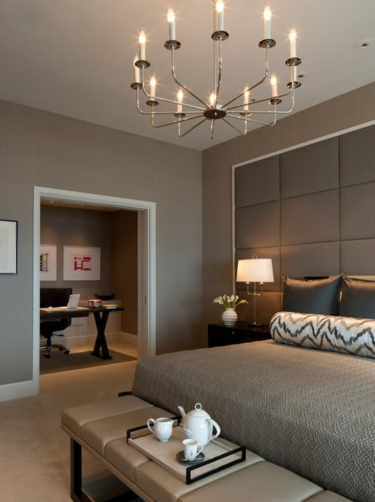 Gorgeous taupe/neutral bedroom. Modern. Love the leather bench.