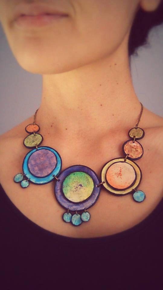 Fimo Halskette Acrylkonzentrischen Kreisen bemalt mit von Fimotion