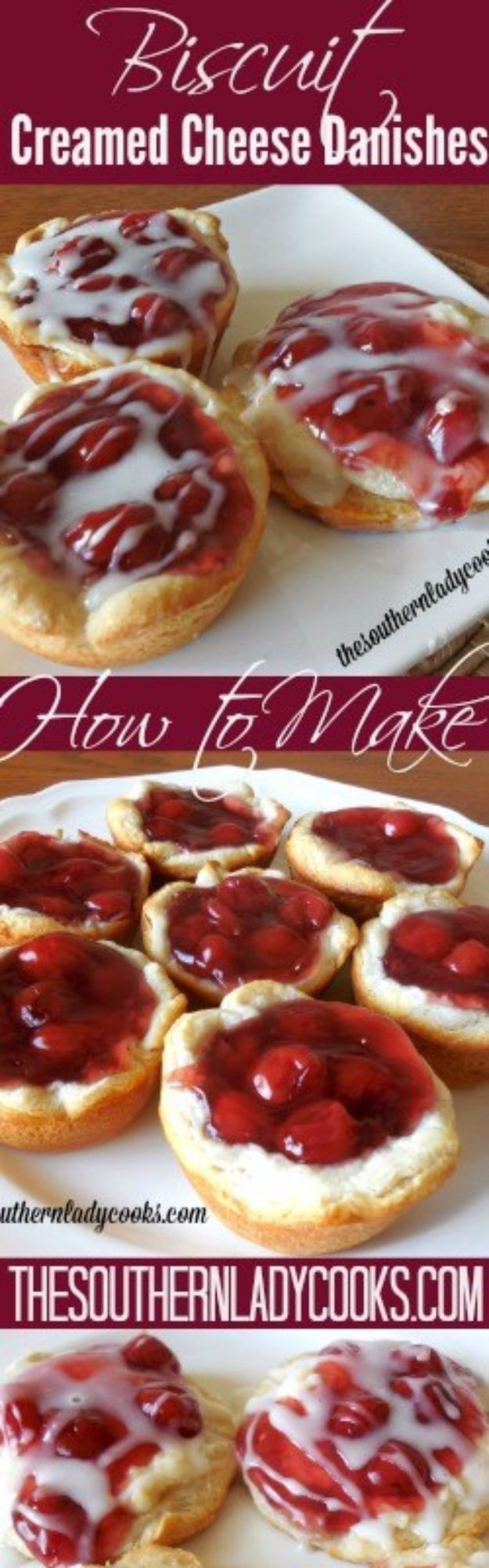 Best Canned Biscuit Recipes - Biscuit Creamed Cheese Danishes - Cool DIY Recipe Ideas You Can Make With A Can of Biscuits - Easy Breakfast, Lunch, Dinner and Desserts You Can Make From Pillsbury Pull Apart Biscuits - Garlic, Sour Cream, Ground Beef, Sweet and Savory, Ideas with Cheese - Delicious Meals on A Budget With Step by Step Tutorials http://diyjoy.com/best-recipes-canned-biscuits