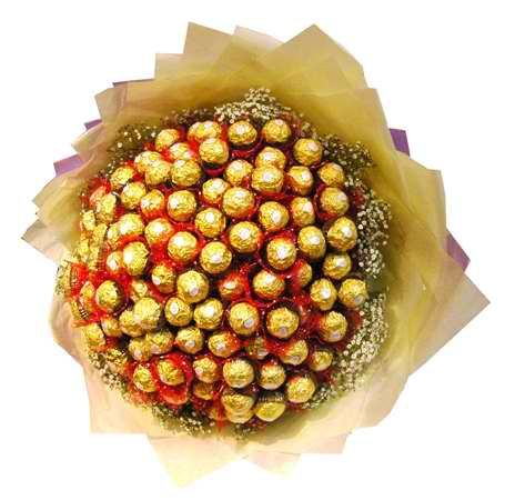A deluxe Bouquet of 100pcs. ferero rocher chocolate.