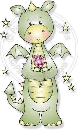 Digital Digi Denzil Dragon with Rose Stamp by PinkGemDesigns