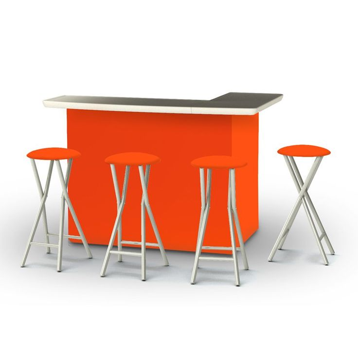 Outdoor Best of Times Solid Patio Bar and Tailgating Center with 4 Bar Stools Orange - 2002W1319