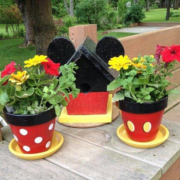 Minnie  Mickey flower pots for grandude and gigi