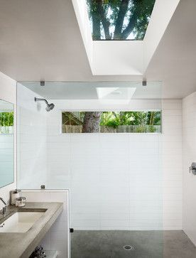 Bathroom and concrete floors with rectangular window