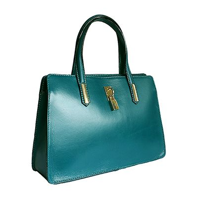 Italian Padlock Teal Green Leather Handbag - Down to £49.99 from £64.99