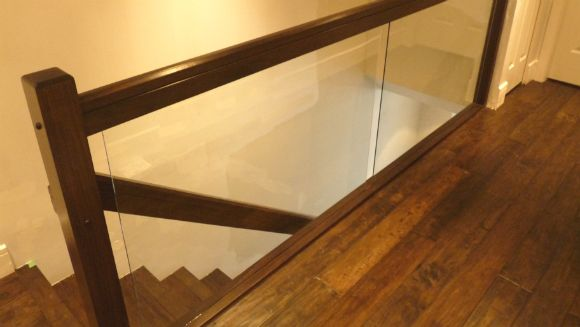 Wood and glass Stair railings in Burnaby