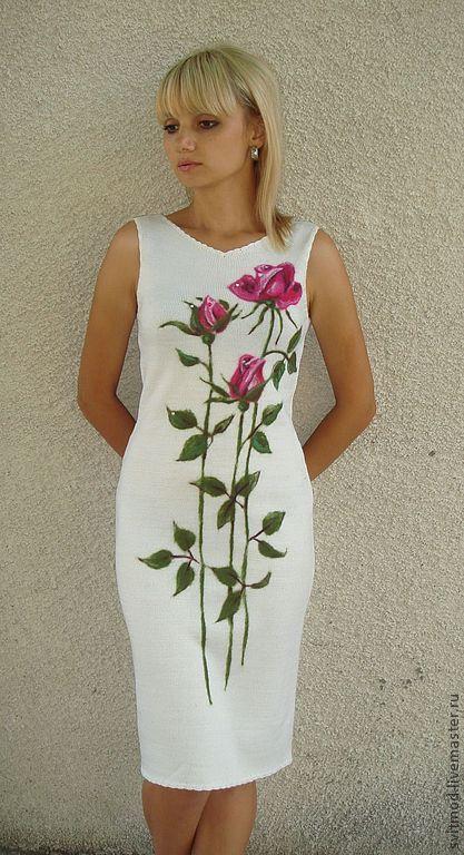 """Платье"""" Розы на белом"""" - белый,цветочный,розы,платье вязаное,рисунок шерстью"""