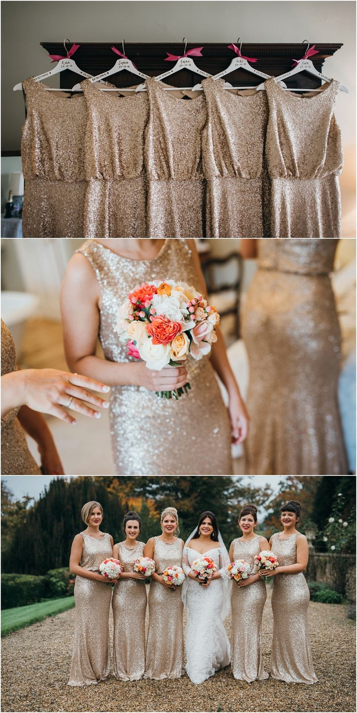 Full-length gold sparkly bridesmaids dresses with coral and white bouquets.