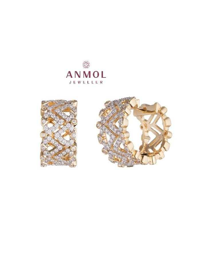 Small (A.D) round shaped earings/bali. Beautiful broad zigzag designer pattern. #anmol_jeweller  #gold #earing #bali #zarcon #wearable #adorable #cute #jewel #jewelery #jeweloftheday #smalljewelry #artwork #designer #beautiful #fashioable #lavish #royal  For queries call or watsapp: 9910401704.  To place order mail us at:Anmol.jeweller01@gmail.com