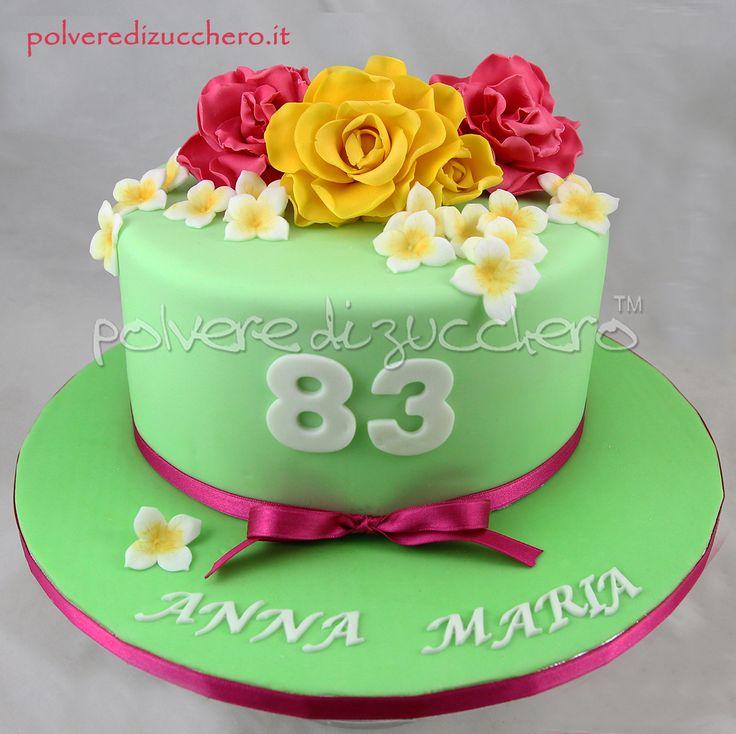 Torta bouquet con fiori in pasta di zucchero, rose gialle e fucsia  bouquet cake with sugar paste flowers, yellow and fuchsia roses
