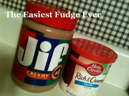 The Easiest Fudge Recipe Ever! It only uses 2 ingredients, Peanut Butter and cake icing and is done in less than 5 minutes!!!