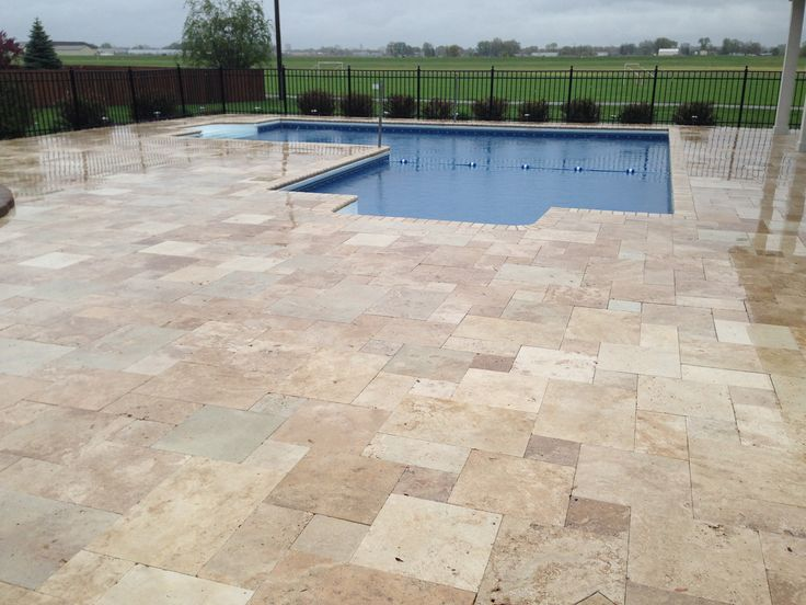 Pool With Travertine Pool Deck Topekalandscape Pools Decks Pinterest Decks Galleries