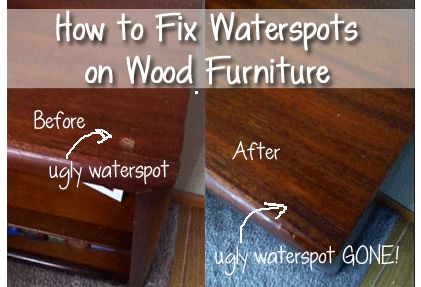 How to Fix Water Spots on Wood Furniture - Northern Cheapskate http://www.northerncheapskate.com/how-to-fix-water-spots-on-wood-furniture/