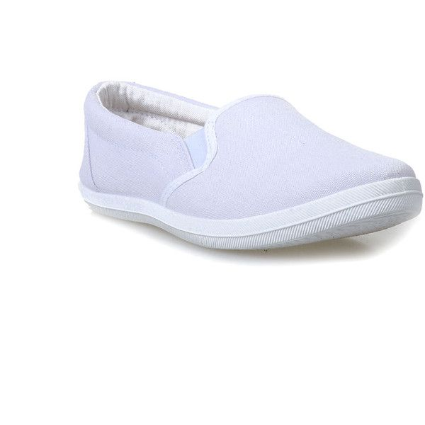 White Marsden Classic Canvas Slip on Flats ($17) ❤ liked on Polyvore featuring shoes, flats, white, canvas flats, white slip on shoes, white flat shoes, cushioned shoes and white flats