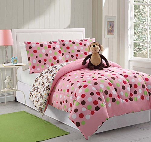 #Girls Twin Comforters in cool colorful poka dots.  I love how fluffy this #beddingSet looks.