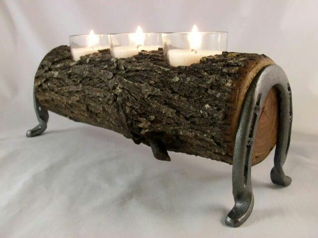 Horse Log Candle Holder