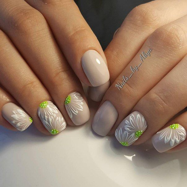 Great Lime Green Detail on White Floral Manicure