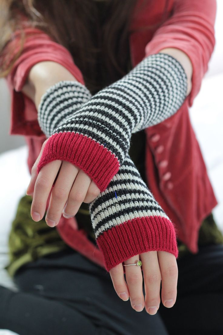 Felting KNITTED HAND WARMERS black and white with red cuffs - cashmere - open fingers boho chic hand cranked and washed to shrink and felt by footfetishsocks on Etsy