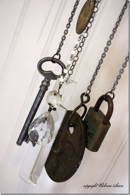 Wind chime from old keys, crystals and locks.