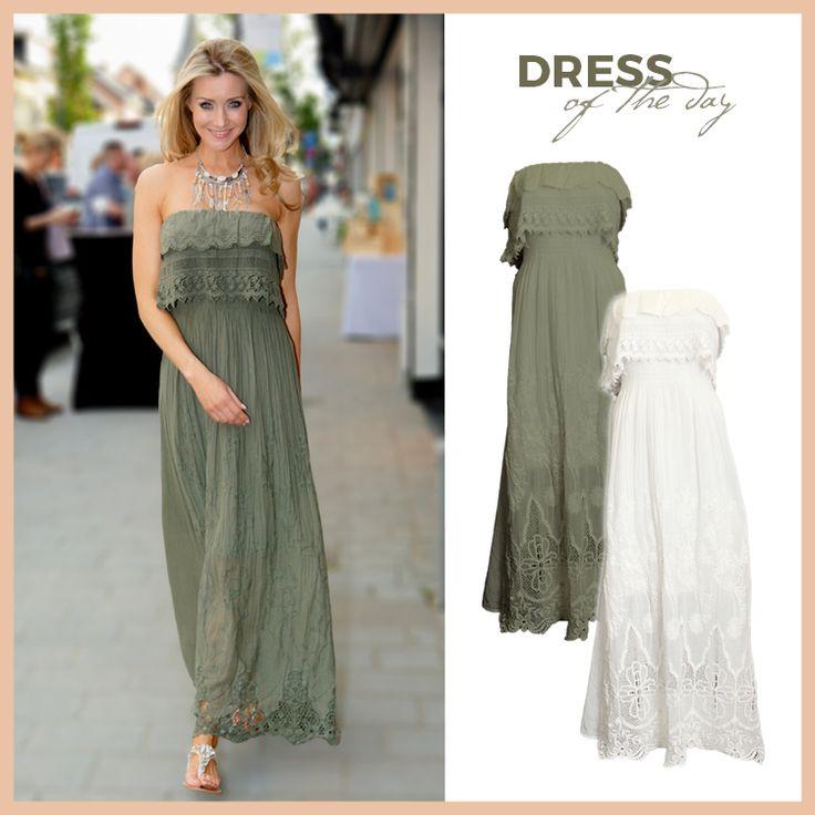Kaki groen versus wit. Welke kleur kies jij? Shop via https://www.bobotremelo.be/webshop/jurken/lange-jurken/witte-jurk.8757