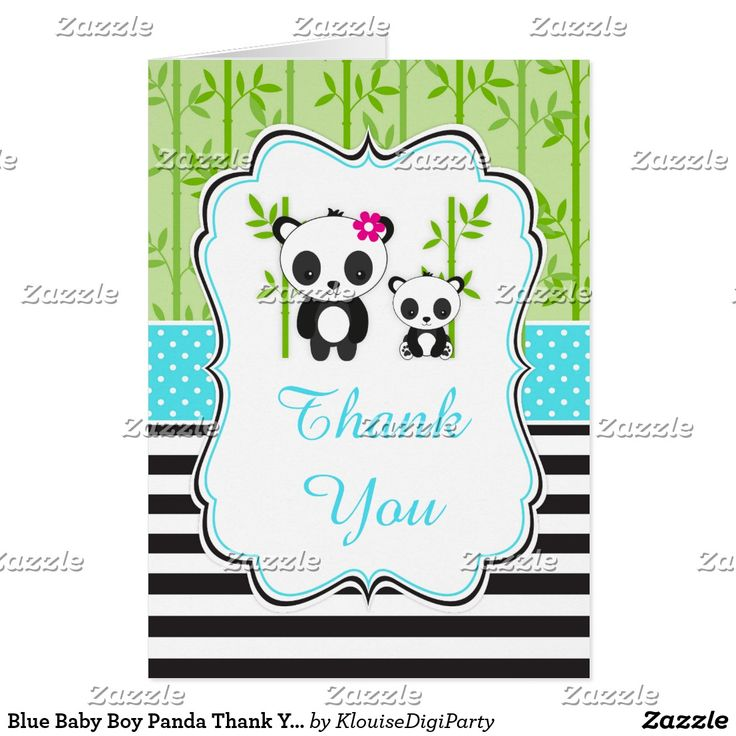 Blue Baby Boy Panda Thank You Card