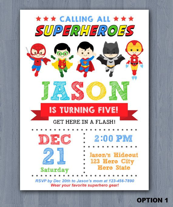Superhero Birthday Invitation, Superhero Invitation, Avengers Invitation
