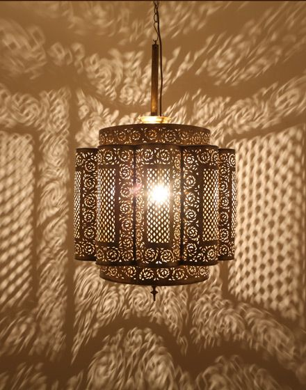 Antique Brass Moroccan Ceiling Lamp - from Moroccan Bazaar.