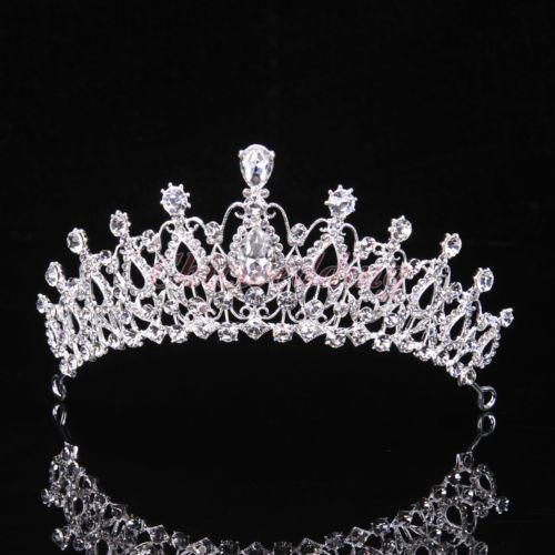 Details about US Bridal Wedding Prom Crystal Flower Tiara Crown Pearl Rhinestone Hair Headband