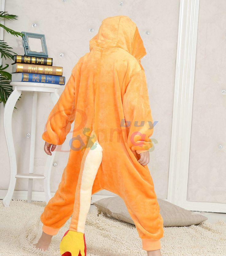 Orange Kids Charmander Pocket Monsters Kigurumi Pajama Animal Onesies - PajamasBuy