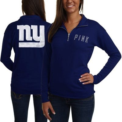 ... Victorias Secret PINK New York Giants Ladies Half-Zip Sweatshirt -  Royal Blue ... 8d89e65c3