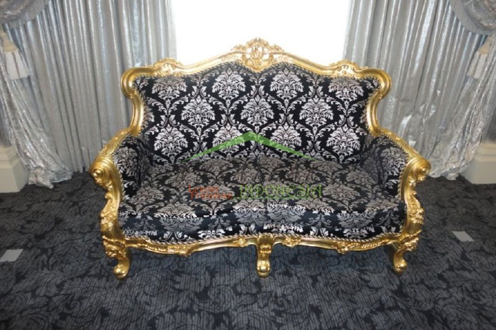 Widhi Gold Leaf Baroque Sofa with Floral Fabric | Luxury Furniture From Indonesia