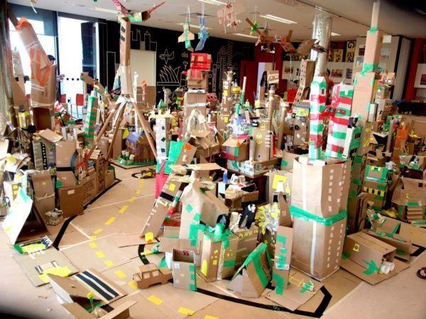 40 Incredible Examples Of Cardboard City Art Cardboard City Cardboard Art Recycle City