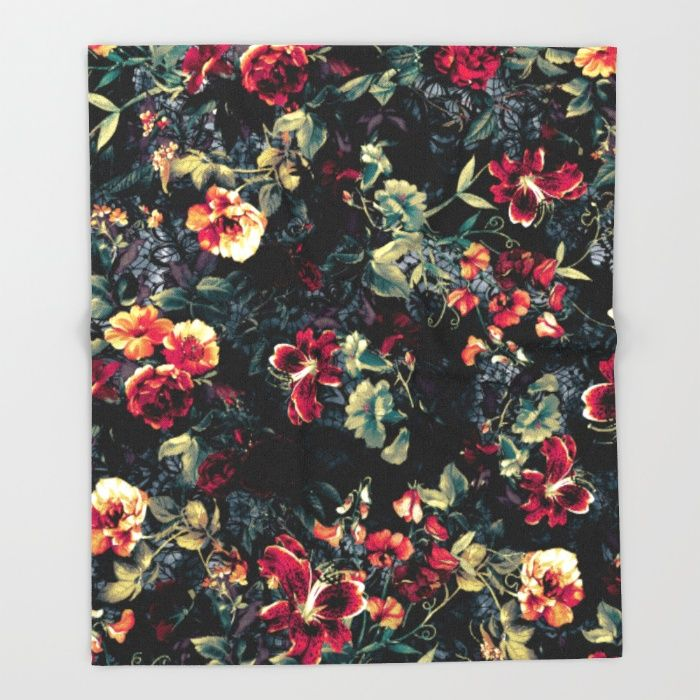 In The Night Garden Throw Blanket Also available as canvas prints, T-shirts, tapestries, stationery cards, laptop skins, wall clocks, mugs, rugs, duvet covers, All over print shirts, Phone cases, Throw pillows, tote bags and More! #dark #floral #romantic #roses #lace #pattern #home #decor #artist #desig #society6