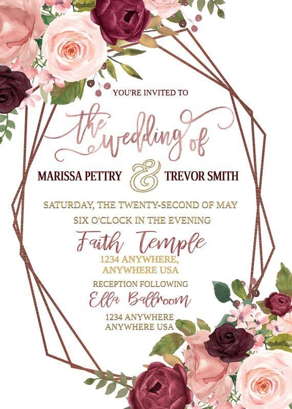Burgundy and Blush Roses Rustic Floral Wedding Invitation Marsala Wedding Invitation Bohemian Wedding