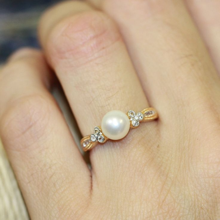 Vintage Inspired Pearl Yellow Gold Plated Silver White Pearl Ring June Birthstone Ring, Size 7 (Resizable) by LuxCrown on Etsy