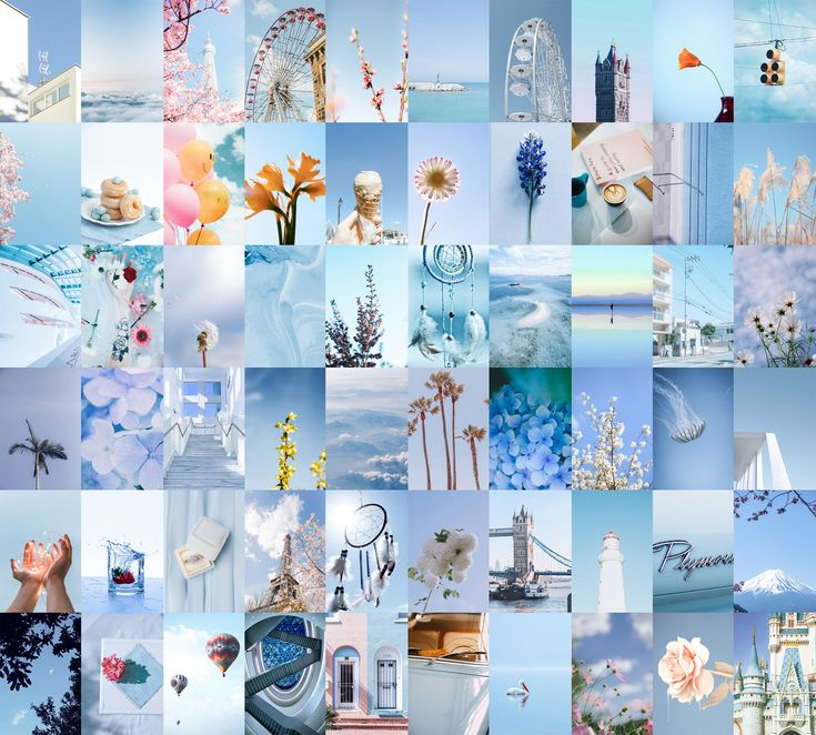 Follow the vibe and change your wallpaper every day! Wall Collage Kit Pastel Blue / 60pcs Digital Photo ...