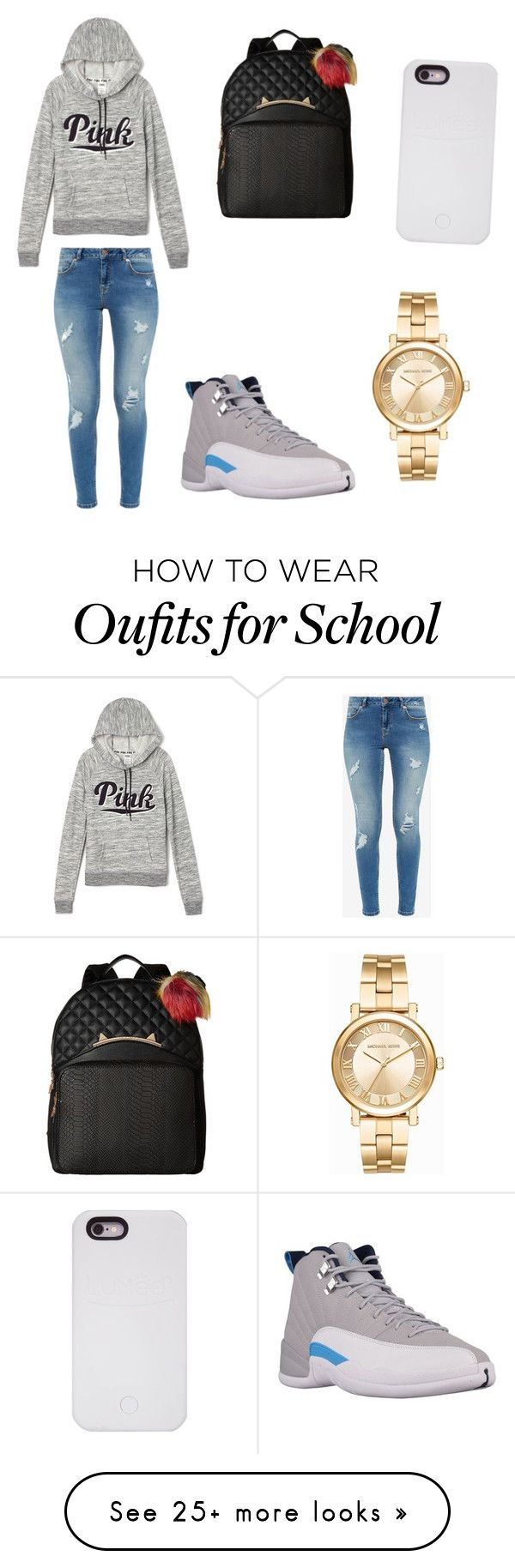 """School days ."" by sidneeeeyyyy on Polyvore featuring Victoria's Secret, Ted Baker, Betsey Johnson, LuMee and Michael Kors"