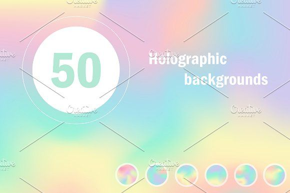 50 Holographic backgrounds by Anna Violet on @creativemarket