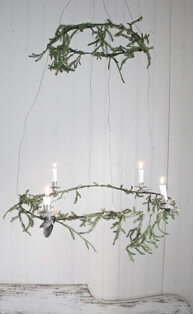Simplistic candelier from wire, evergreens and antique candle clips for Christmas trees.