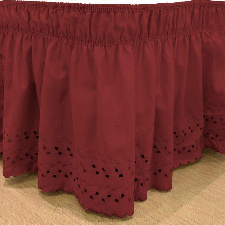 EasyFit Wrap Around Eyelet Ruffled Bed Skirt, Red