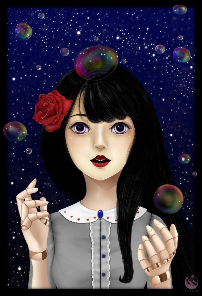 :)) #drawing #girl #art #rose #collar #doll #red lips #soap bubbles