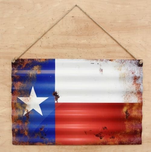 State of Texas Flag Corrugated Metal Sign Decor  #RIS #Southwestern