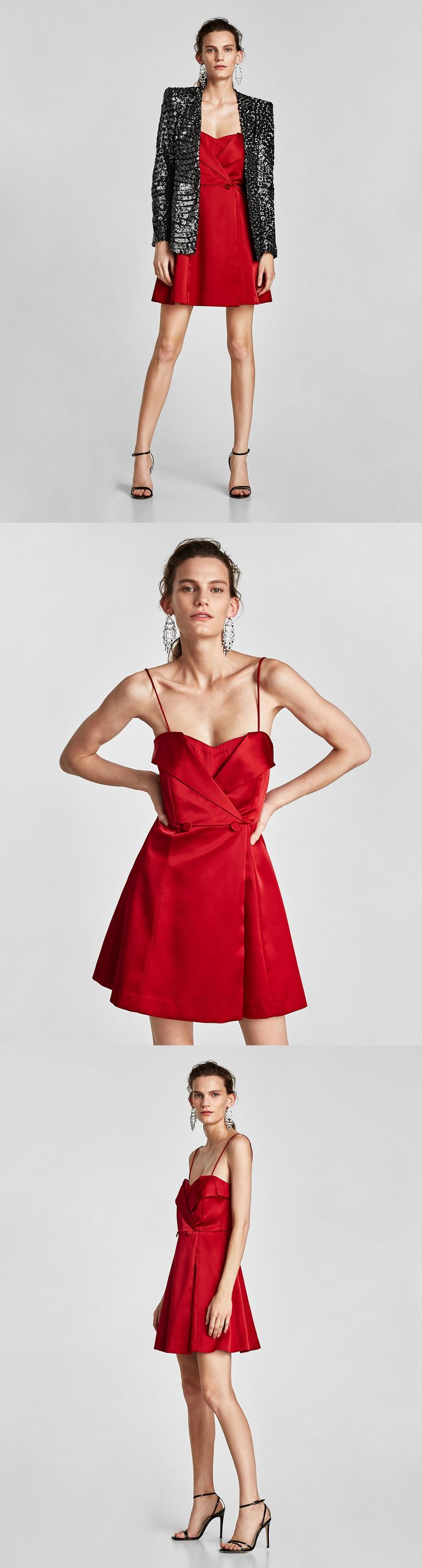 Satin Dress With Exposed Shoulders // 69.90 USD // Zara // Off-the-shoulder dress with removable straps. Featuring a cinched waist with matching lined buttons, an A-line silhouette with a crossed front and a reinforced elastic interior on the neckline. Fastens at the back with zip hidden in the seam. HEIGHT OF MODEL: 179 CM / 5′ 10″