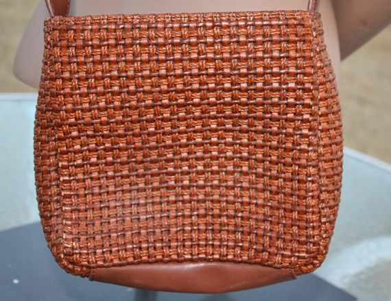 Woven Brown Fossil Purse by in2purses2010 on Etsy, $12.99