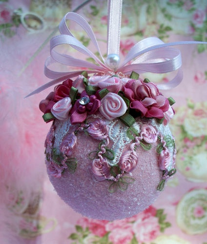 Shabby Pink Glass Christmas Ornament, Pink Roses, Prisms, Venice Lace, Pearls