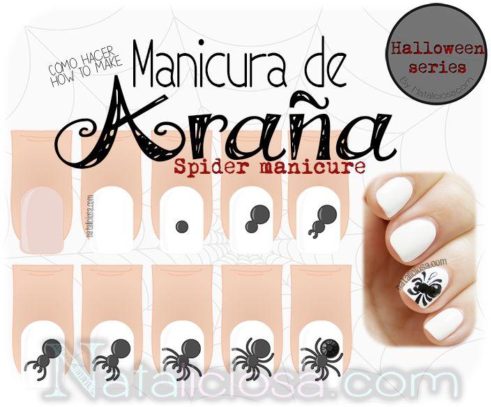 Tutorial de nail art - cómo hacer una manicura de arañas para este Halloween paso a paso fácil y rápido