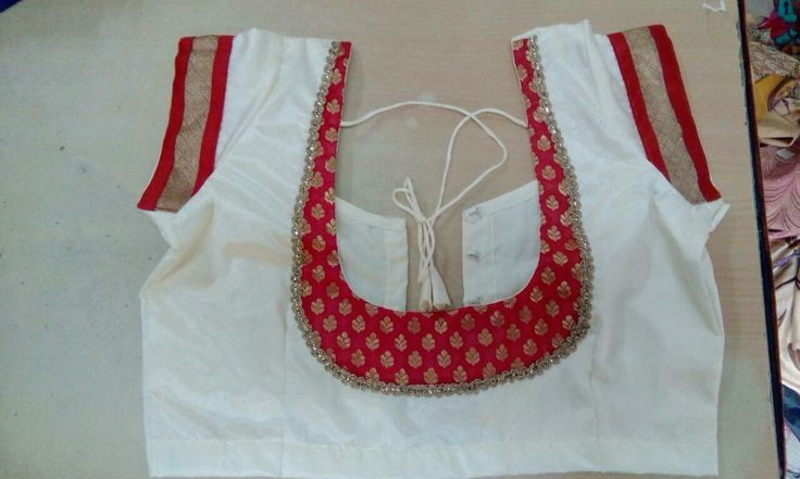 White with red blouse