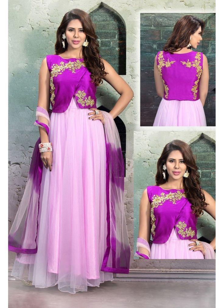 Couleur Lavande color Style Veste de Concepteur Indien Robe Anarkali en Filet et Soie