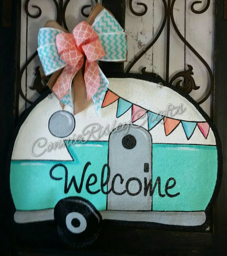 Classroom Door Decoration Ideas For Summer ~ Vintage camper burlap door hanger decoration by