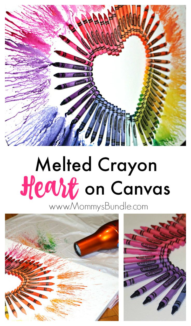 Melt crayons with a blowdryer to create a beautiful art piece or decor for Valentine's Day!